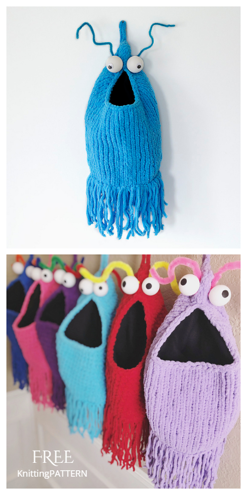 Knit Yip Yips Hanging Bag Free Knitting Pattern