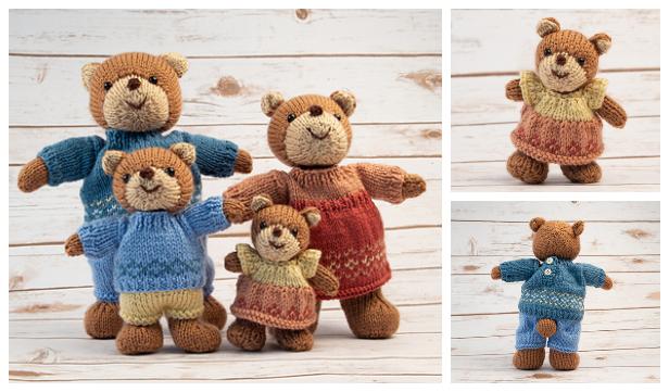 3 friends: Bear, Rabbit, Panda with clothes Crochet (knitting ... | 361x616