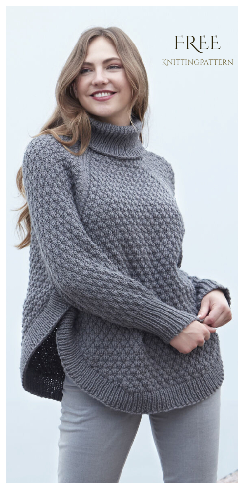 Diamond Texture Poncho  Free Knitting Pattern