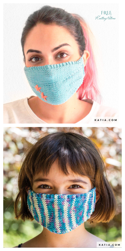Customized Knit Face Mask Free Knitting Patterns Adult+Kids