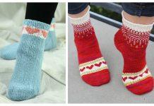 Knit Heart Valentine Socks Free Knitting Patterns