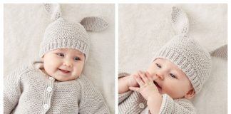 Knit Baby Bunny Hat Sweater Set Free Knitting Pattern