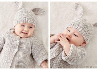 Knit Baby Bunny Hat Sweater Set Free Knitting Pattern
