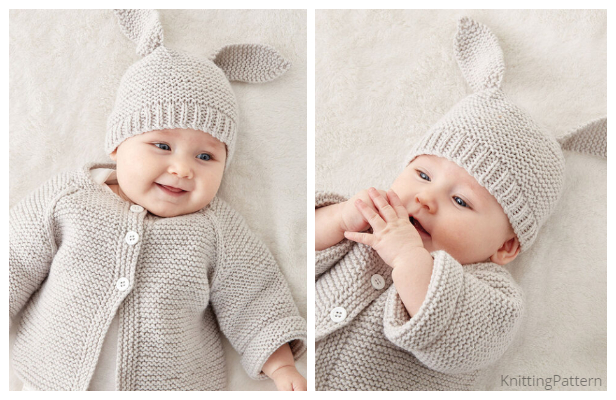 Knit Baby Bunny Hat Sweater Set Free Knitting Pattern ...