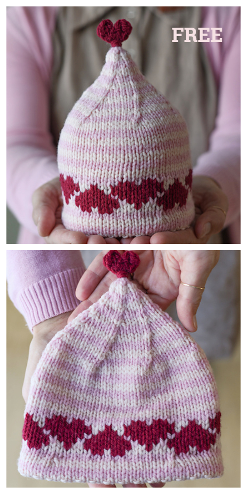 Knit Love Heart Hat Free Knitting Patterns