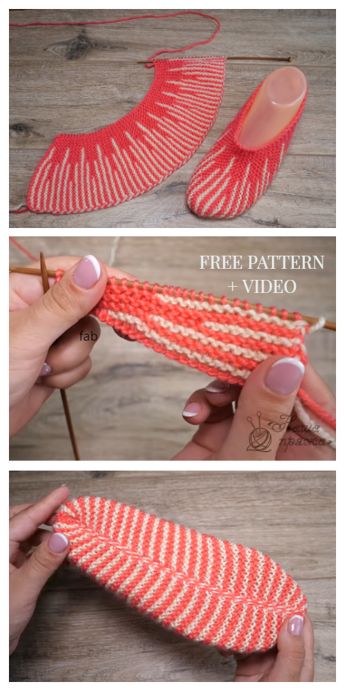 Knit Two Color Turkish Slippers Free Knitting Patterns + Video