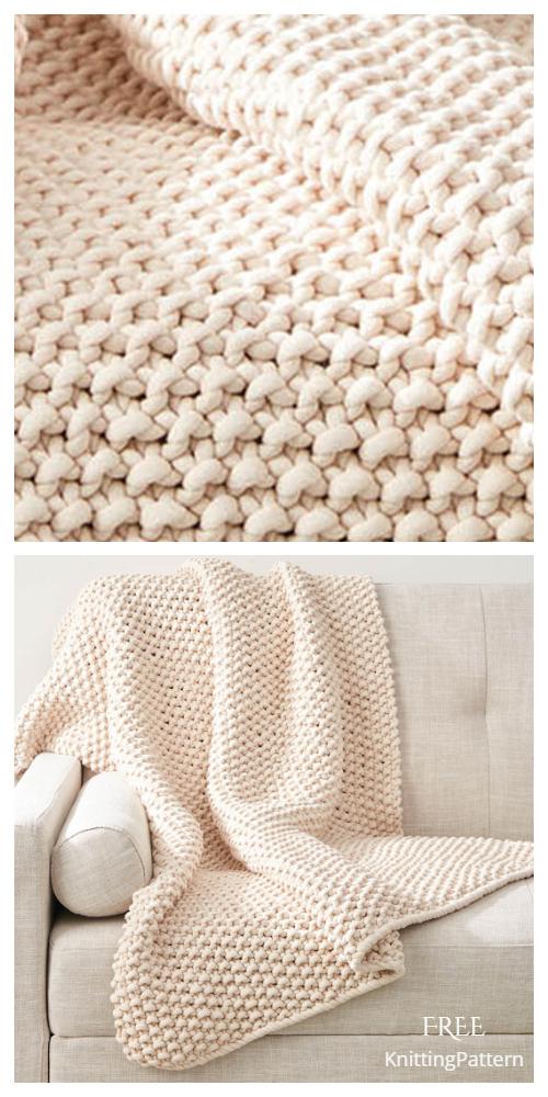 Knit Chunky Seed Stitch Throw Free Knitting Pattern