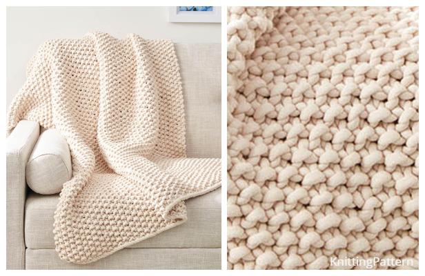 Knit Chunky Seed Stitch Throw Free Knitting Pattern ...