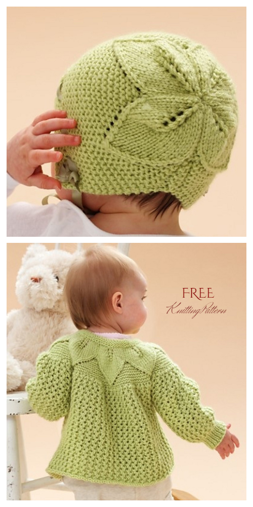 Knit Baby Leaf Cardigan Hat Set Free Knitting Patterns
