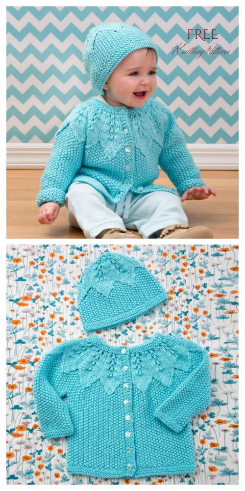 Knit Star Bright Baby Leaf Cardigan Free Knitting Patterns
