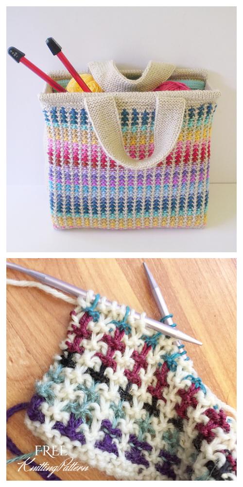 Knit Colorful Scrap Bag Free Knitting Pattern