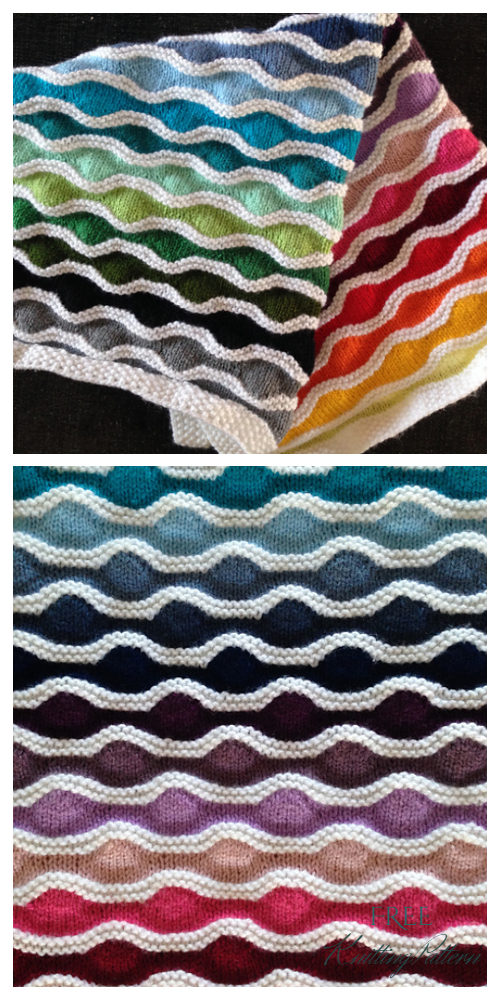 Knit Rainbow Lizard Ridge Blanket Free Knitting Pattern