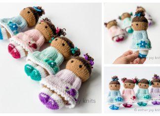 Knit Toy Flower Girls Free Knitting Pattern