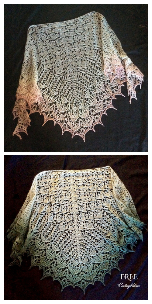 Knit Triangle Lace Shawl Free Knitting Patterns