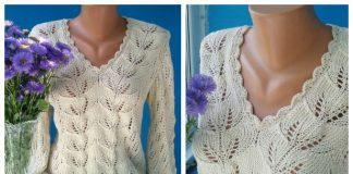 Knit Women Leaf Pullover Sweater Free Knitting Pattern