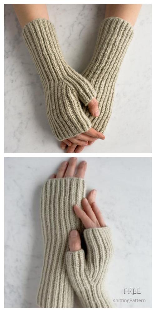 Knit Fisherman's Rib Hand Warmers Free Knitting Pattern