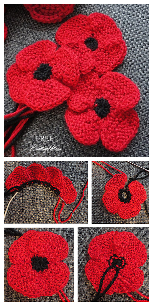 Knit Flat Poppy Flower Free Knitting Patterns