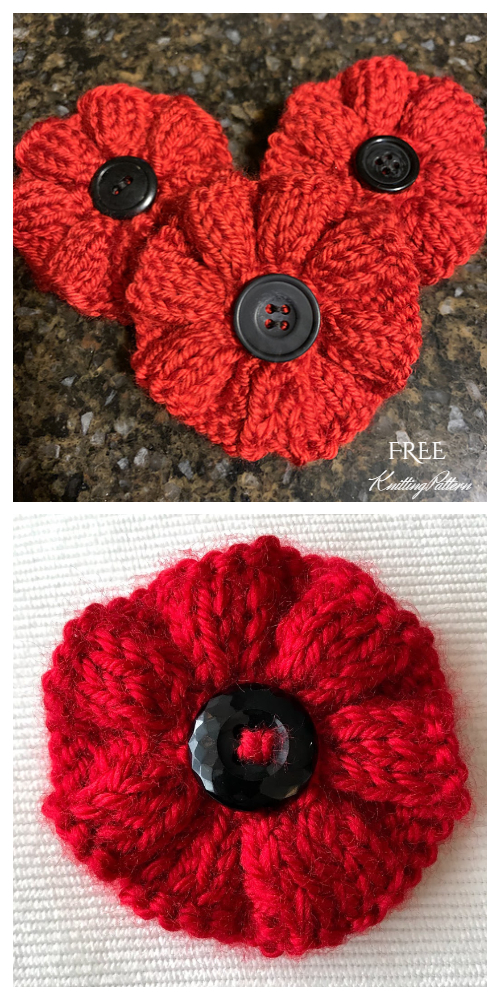 Knit Ribbed Poppy Flower Free Knitting Patterns