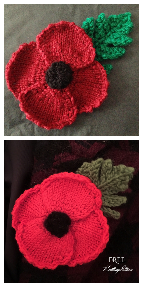 Knit Poppy Flower Free Knitting Patterns
