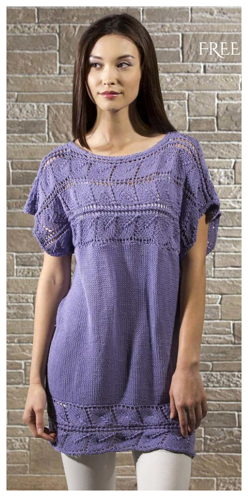 Knit Lilac Women Leaf Pullover Sweater Free Knitting Pattern