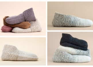 Simple Adult House Slippers Free Knitting Pattern