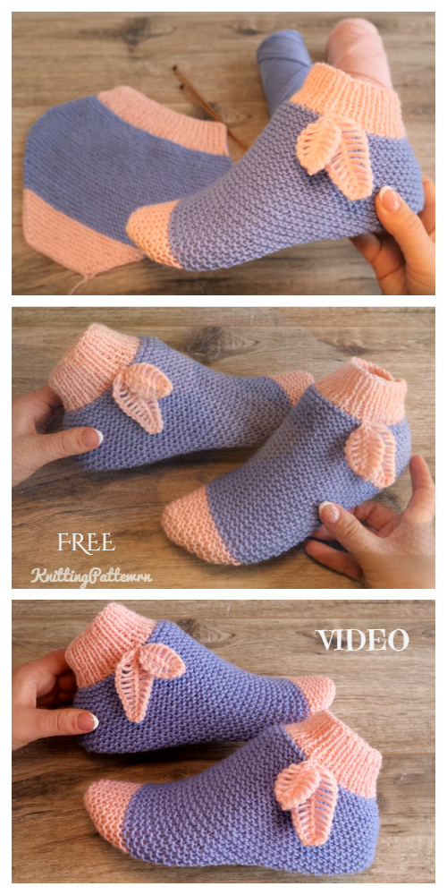 Easy Knit One-Piece Slippers with Leaf Free Knitting Pattern + Video