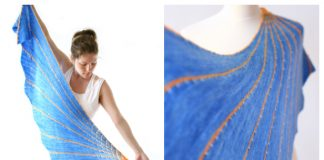 Knit Fluorescent Sun Asymetrical Crescent Shawl Free Knitting Pattern