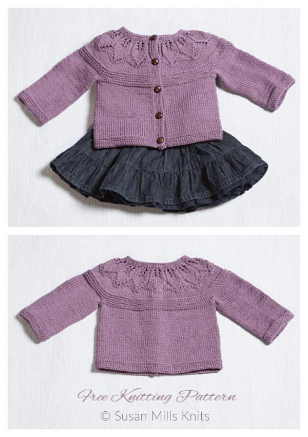 Baby Provence Leafy Cardigan Free Knitting Patterns
