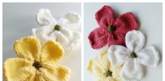 Knit Dogwood Blossoms Flower Free Knitting Pattern + Video