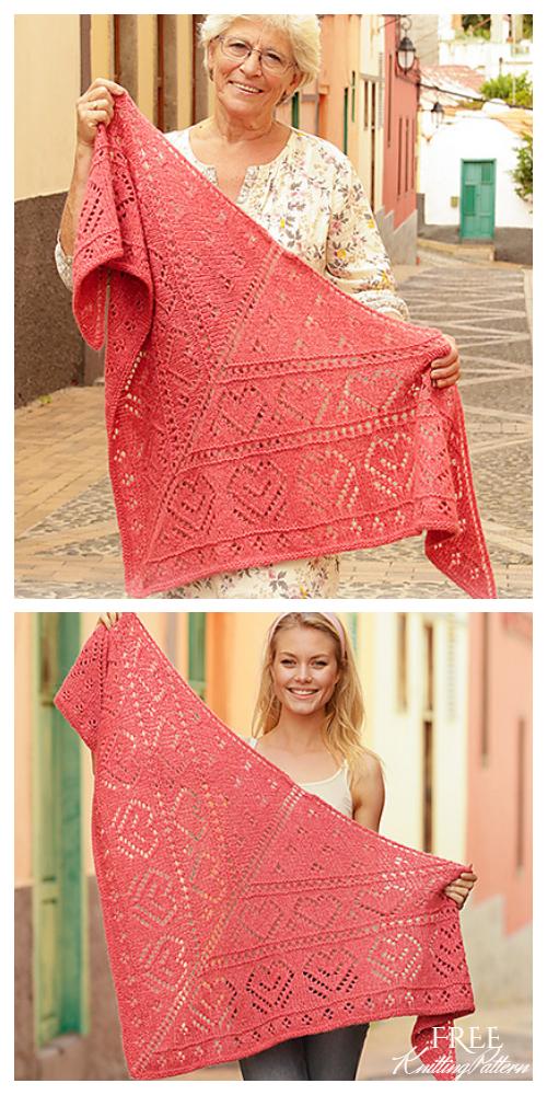 Knit Heart Lace Shawl Free Knitting Pattern