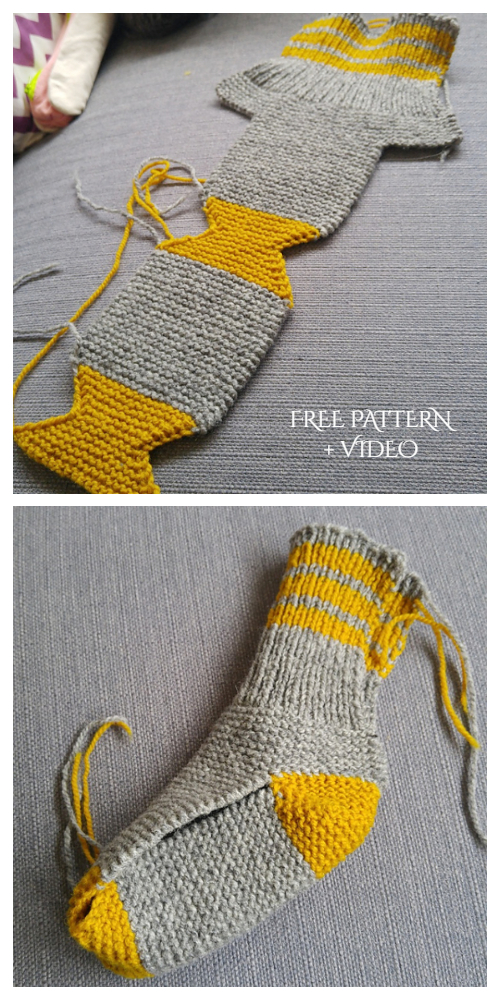 Easy Knit One Piece Slippers Free Knitting Pattern + Video