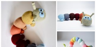 Knit Rainbow Caterpillar Free Knitting Patterns