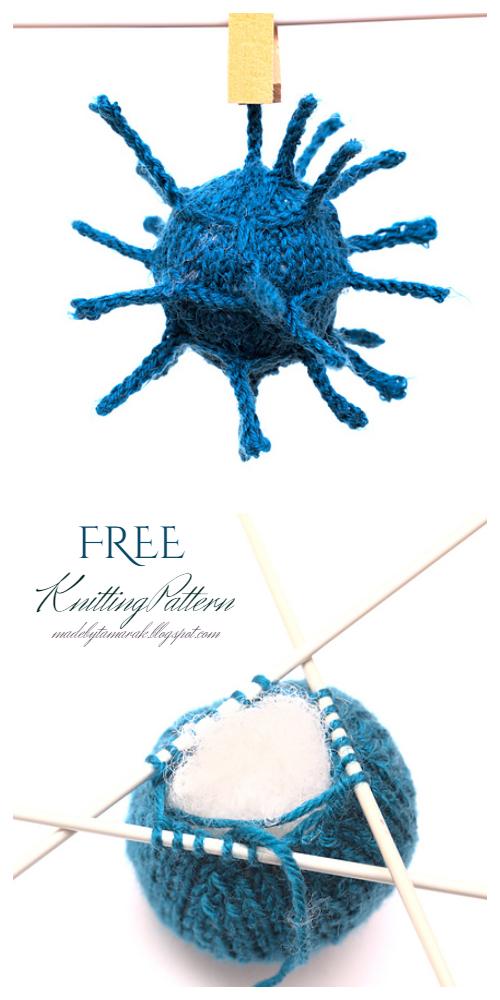 Knit Virus Ball Free Knitting Pattern