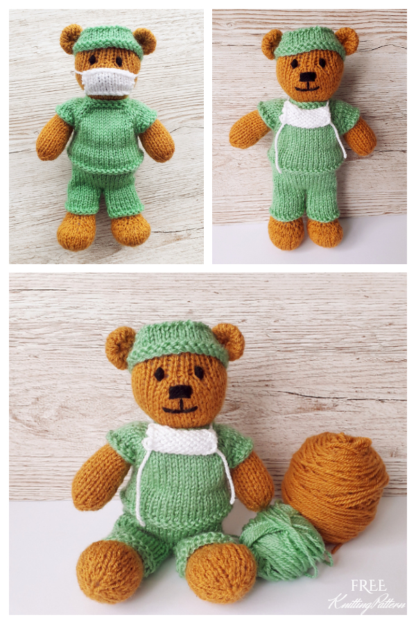 Amigurumi Little Doctor Bear Free Knitting Pattern