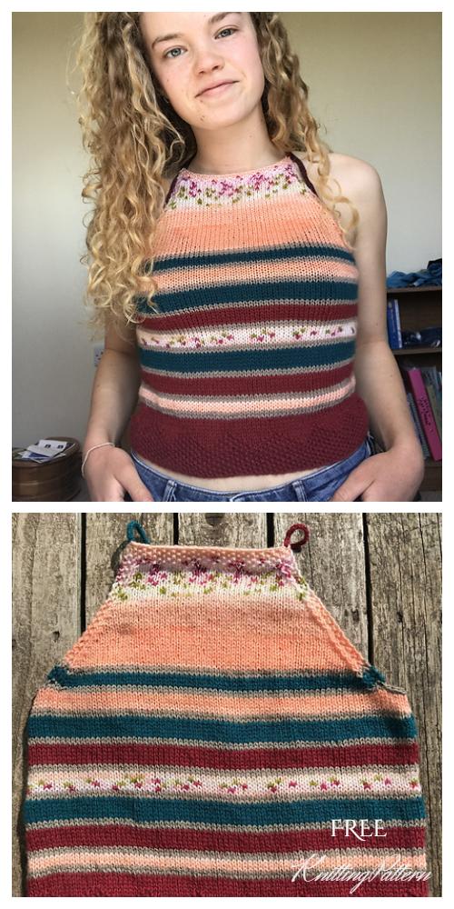 Knit Summer Stripe Crop Top Free Knitting Patterns