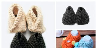 Knit Crossover Baby Booties Free Knitting Patterns + Video