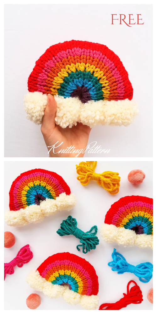 Knit Rainbow Wall Hanging Free Knitting Patterns
