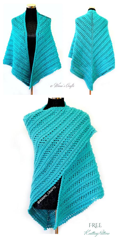 Knit Aqua Tides Lace Shawl Free Knitting Pattern