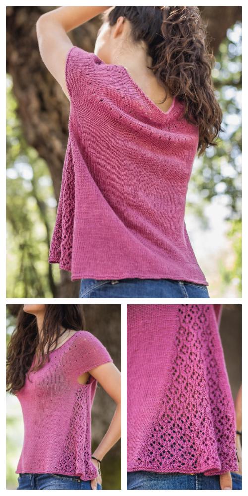 Knit Cascata Tee Top Free Knitting Pattern