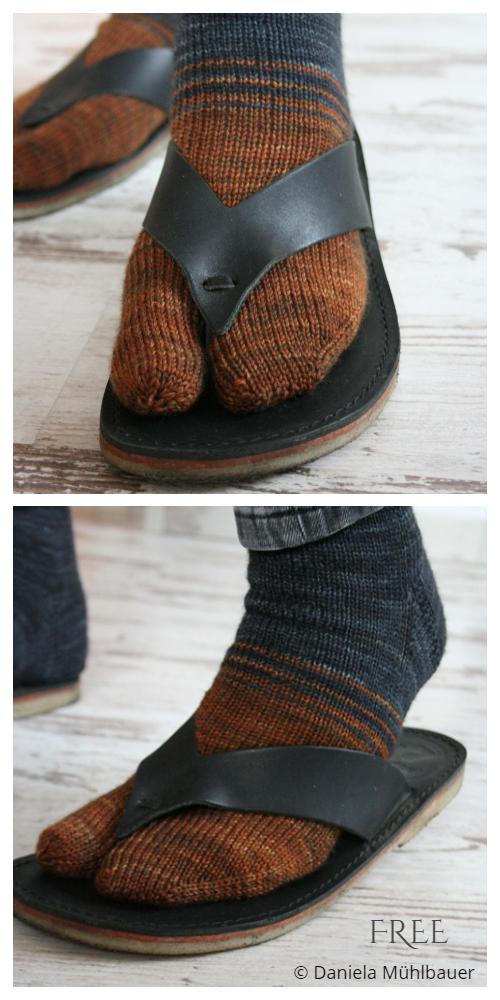 Knit Tabi Split Toe Socks Free Knitting Patterns