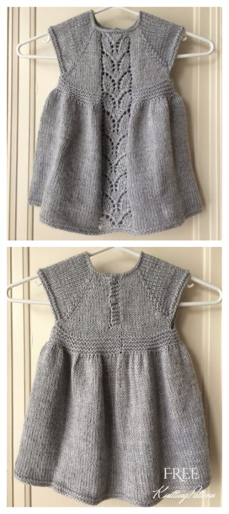 Knit Leaf Love Baby Dress Free Knitting Pattern