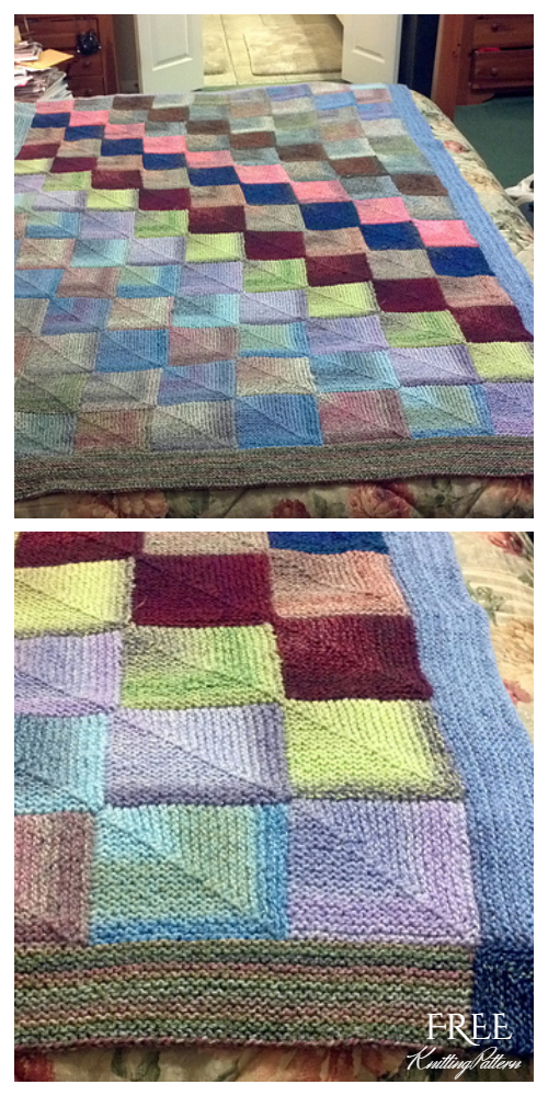 Knit Mitered Square Blanket Free Knitting Pattern