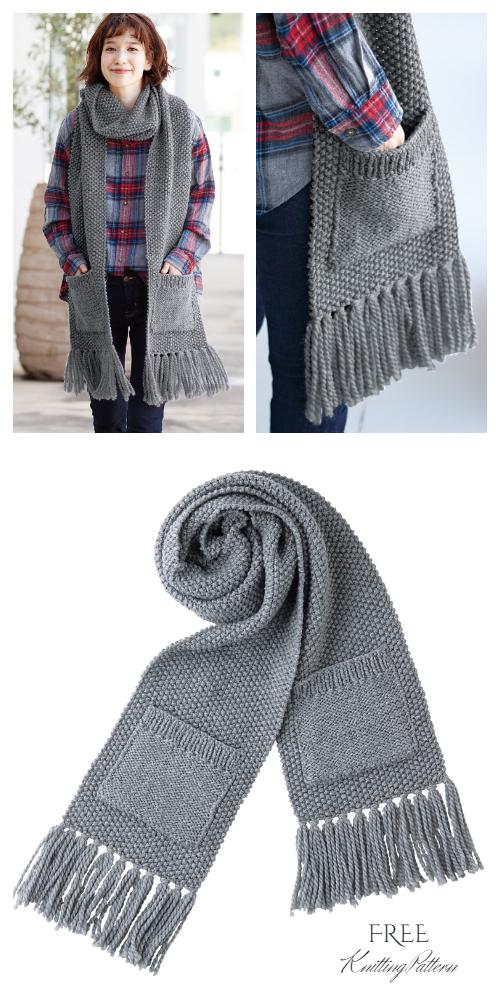 Knit Pocket Scarf Free Knitting Patterns