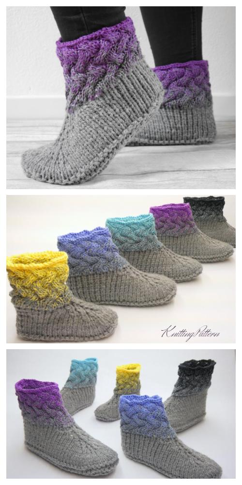 Braided Design Slippers Knitting Pattern