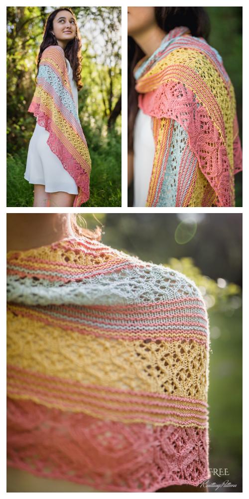 Colorful June Lace Shawl Free Knitting Pattern