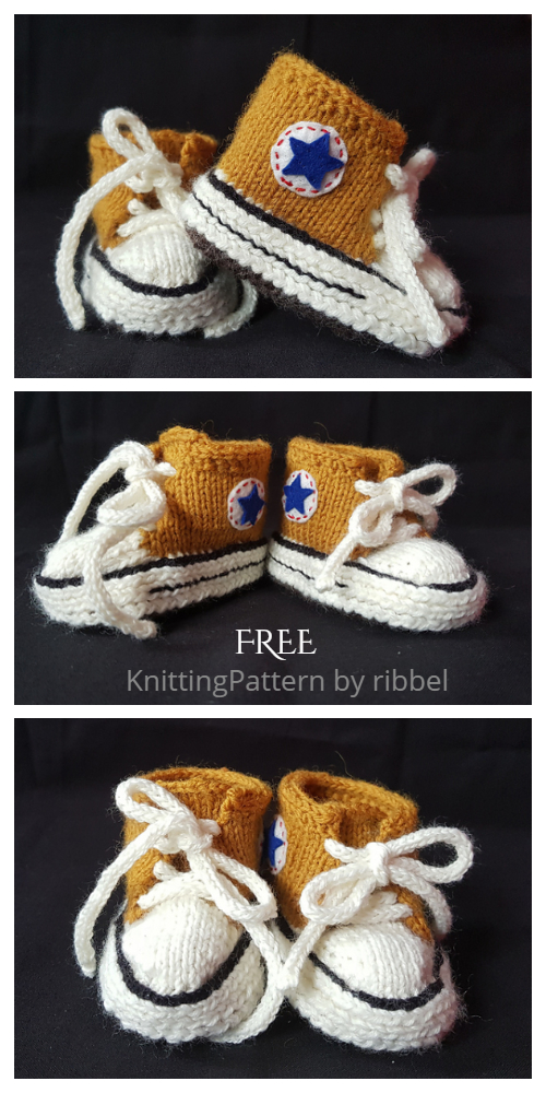 Knit Baby Converse Sneaker Booties Free Knitting Patterns