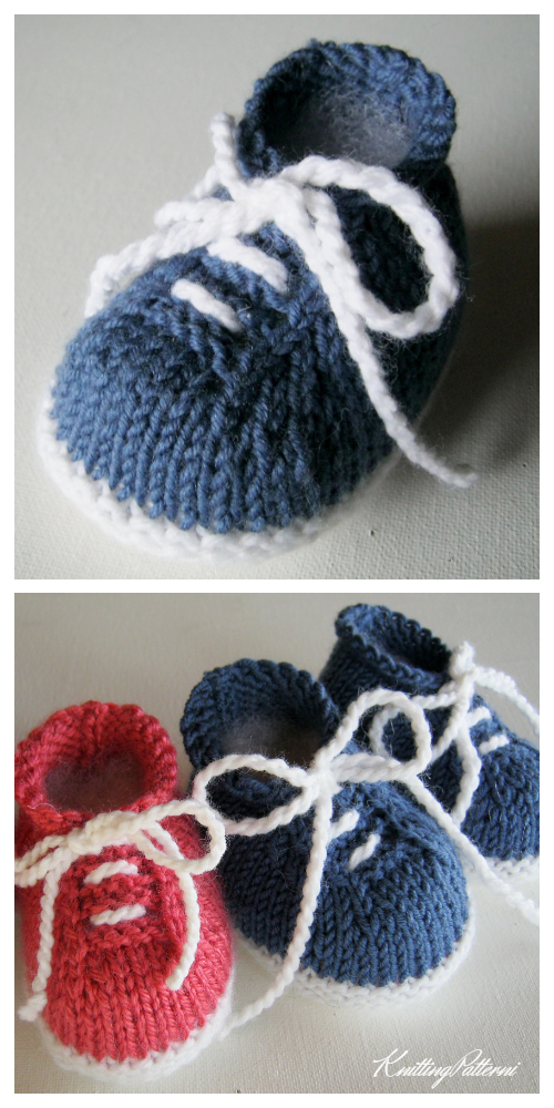 Knit Baby Tennis Sneaker Booties Knitting Patterns