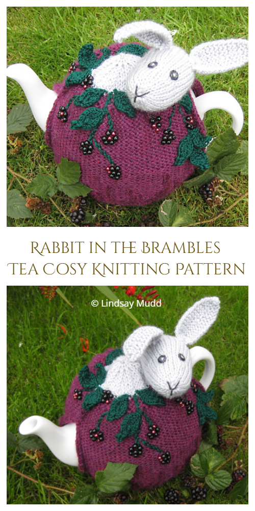 Rabbit in the Brambles Tea Cosy Knitting Pattern