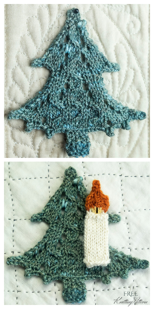 Knit Lace Tree Applique Free Knitting Patterns