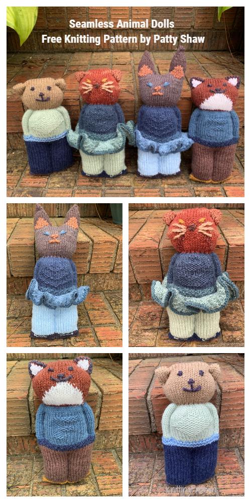 Knit One Piece Animal Dolls Free Knitting Patterns